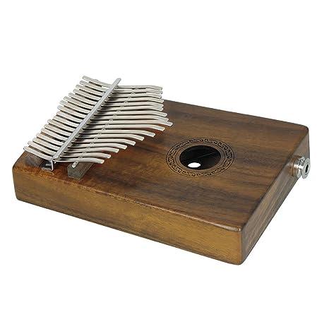 Kalimba Madera 17 tonos portátil Pulgar Piano Mbira Sanza metal teclado de piano del instrumento musical