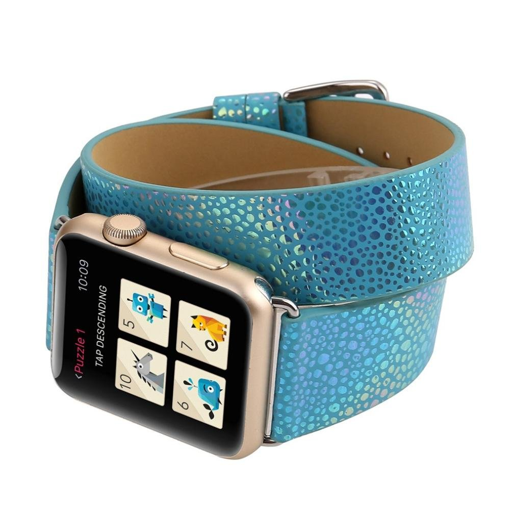 Sport Band for Apple Watch 42mm, Gotd Leather Strap Bracelet Wrist Band Replacement Watch Band For Apple Watch 42mm Series 3, Series 2, Series 1, Large Small, Men Women (Blue) by Goodtrade8
