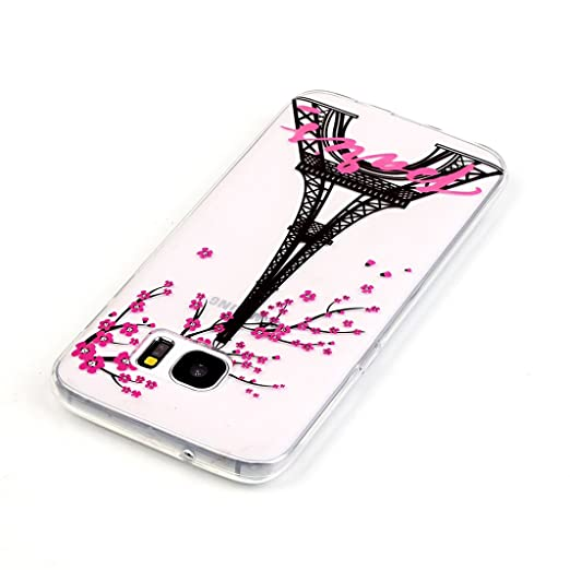 ... Soft Transparent Phone Skin Smooth Slim Shell Flexible Light Case Bumper - Eiffel Tower&Cherry Tree (Gift:1 Screen Protector): Cell Phones & Accessories