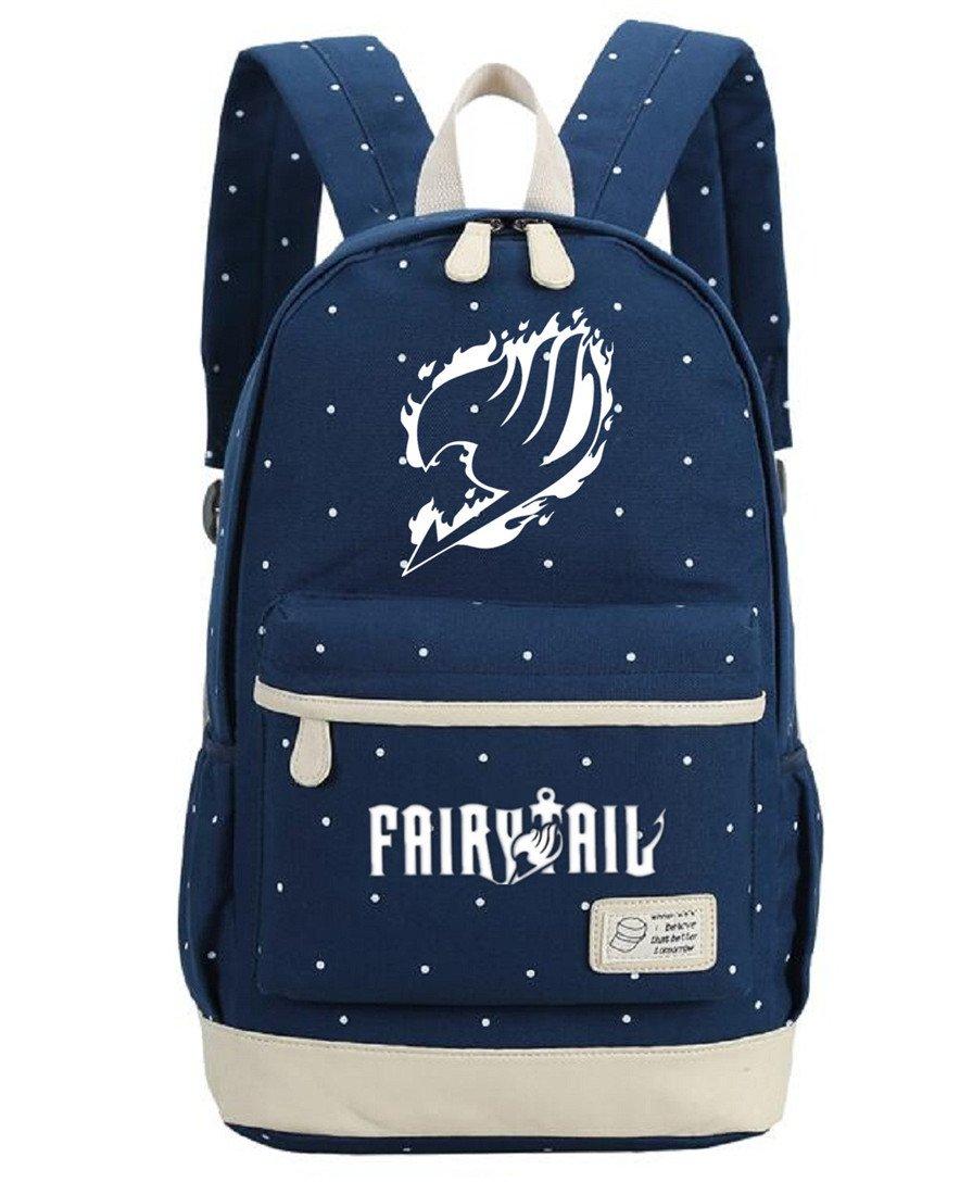 Siawasey Anime Fairy Tail Cosplay Luminous Backpack Daypack Bookbag Shoulder Bag School Bag (Dark Blue 1)