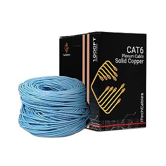 Cat6 Plenum 1000ft Cable CMP Solid Copper 550Mhz Blue