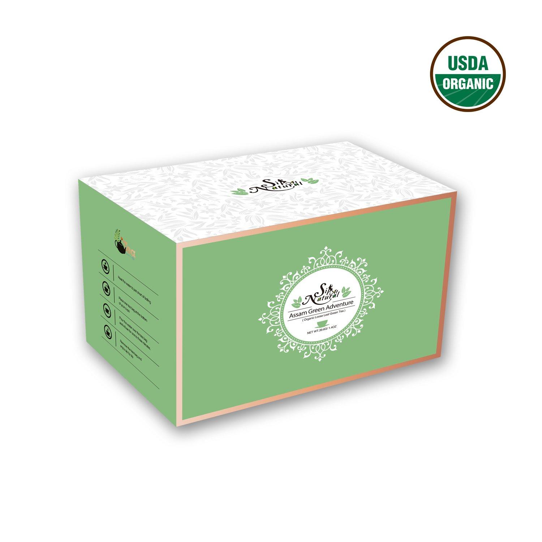 Organic Green Tea by Sip at Natural | Organic Green Tea Bags | Assam Green Tea Bags | Brew Hot Tea, Iced Tea | 18 Individually Wrapped Tea Bags