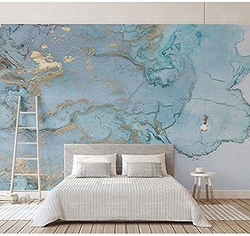 ZXXCV Blaues Beschaffenheits-Marmortapeten-Wandbild 3D Wand-Foto ...