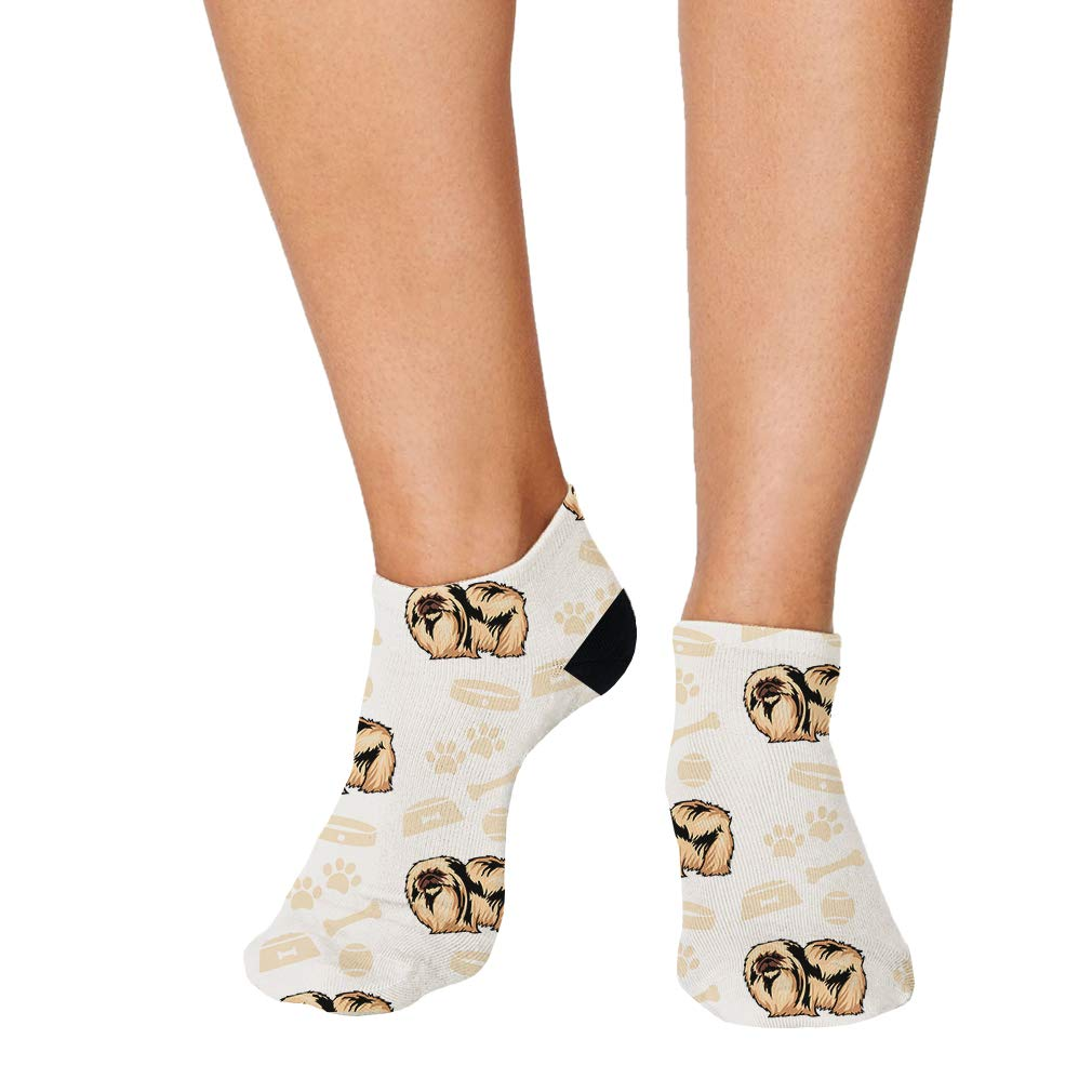 Pekingese Dog Bone Bowl Collar Pattern Men-Women Adult Ankle Socks