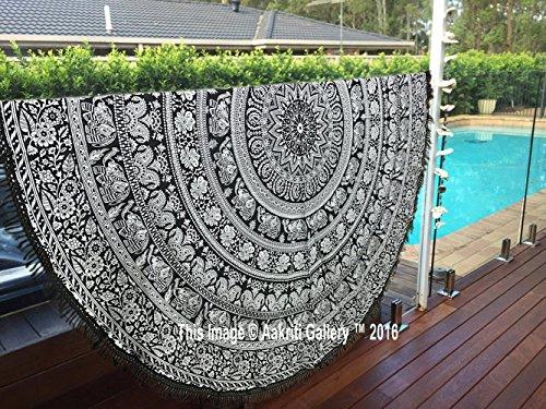 Mandala Round Roundie with frill Beach Throw Cotton Beach Towel , Round Yoga Mat with frill Beach Round Shawl, 72' Beach Leisure, Picnic Mat by Aakriti Gallery (Round Flower) - 72' Room Divider
