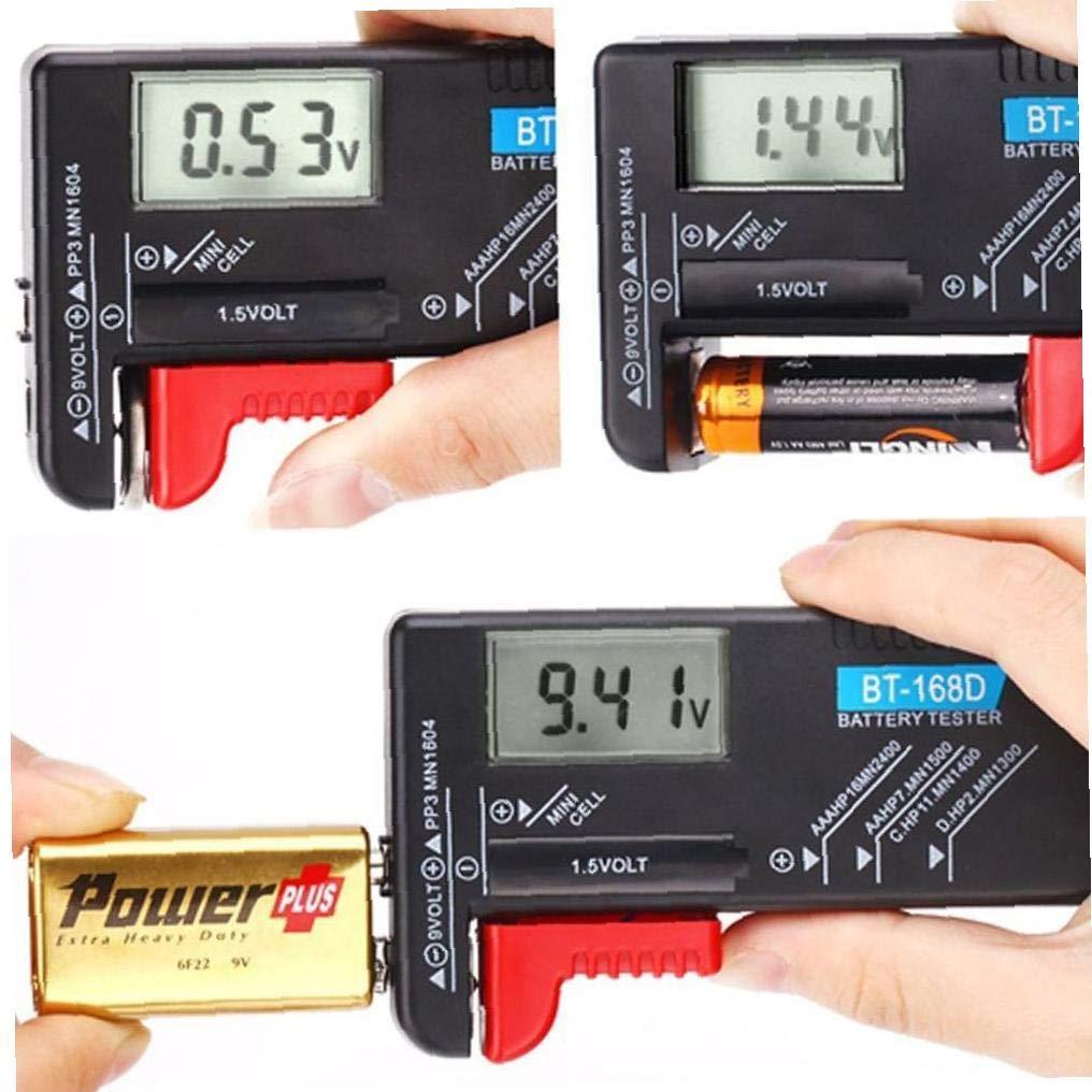 Professionelle Digital-Batterie-Tester Haushalts Battery Checker F/ür 9V 1.5V AA AAA-Zelle Kleine Batterien Knopfzelle