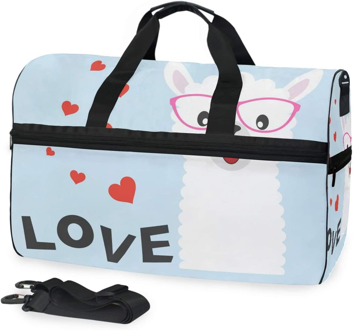 Travel Duffels Greeting Card Cute Baby Llama With Glasses Duffle Bag Luggage Sports Gym for Women /& Men