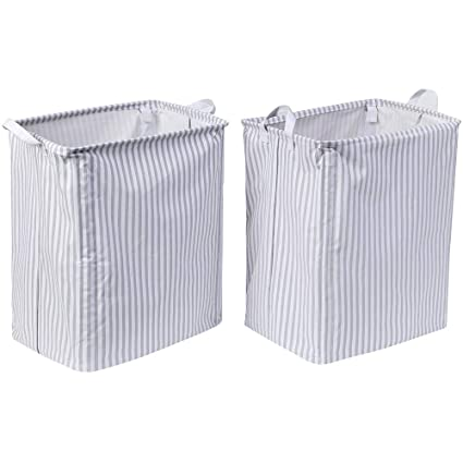 Laundry Hamper Collapsible | Set Of 2 Laundry Basket Stay Upright |  Waterproof Storage Bin For