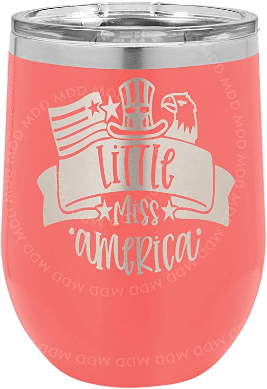 Little Miss America - CORAL - 12oz WINE GLASS - Custom Engraved, Quality Stainless Steel, Vacuum Insulated, Wine Glass, Tumbler