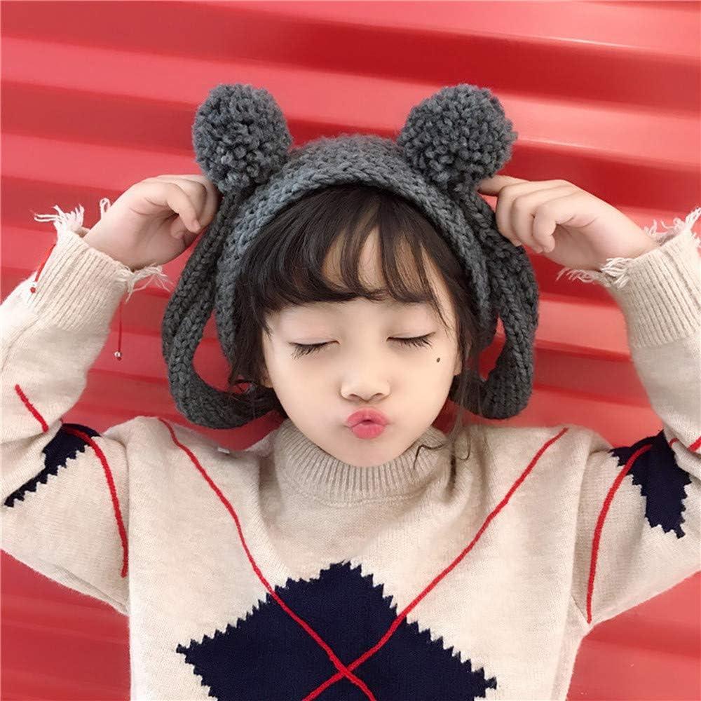 Memela Baby Winter Hat,Toddler Winter Cap with Ear Flaps Beanie Hat MittensCrochet Knit Hat Beanie Hairball Cap