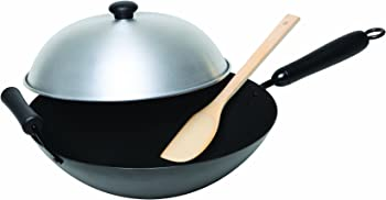Columbian Home Asian Origins 4-Piece Nonstick Carbon-Steel Wok Set