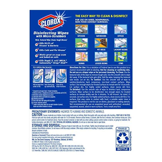 Clorox Disinfecting Wipes with Micro-Scrubbers, Bleach Free Cleaning Wipes - Crisp Lemon, 70 Count Each (Pack of 3) 9 DISINFECTING WIPES: Clean and disinfect with a powerful antibacterial wipe killing 99.9% of bacteria and viruses and remove common allergens around your home SANITIZING WIPE: Clorox Micro-Scrubber sanitizing wipes are thick with double sided texture to remove tough dirt, messes and baked on soils MULTI-SURFACE CLEANER: Clorox cleaning wipes clear drying formula powers through grease, soap scum and grime so you can conveniently tackle any tough surface including finished wood, sealed granite and stainless steel