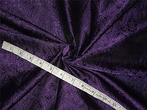 puresilks Silk Brocade Fabric Purple,Black Color 44