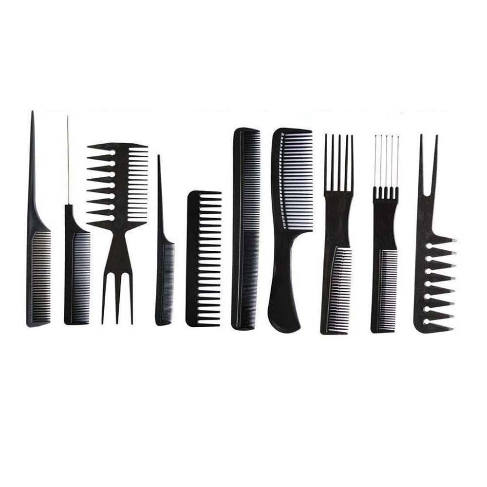 Dionshop 10Pcs Barbers Black Salon Hair Styling Combs Hairdressing Set Doinshop