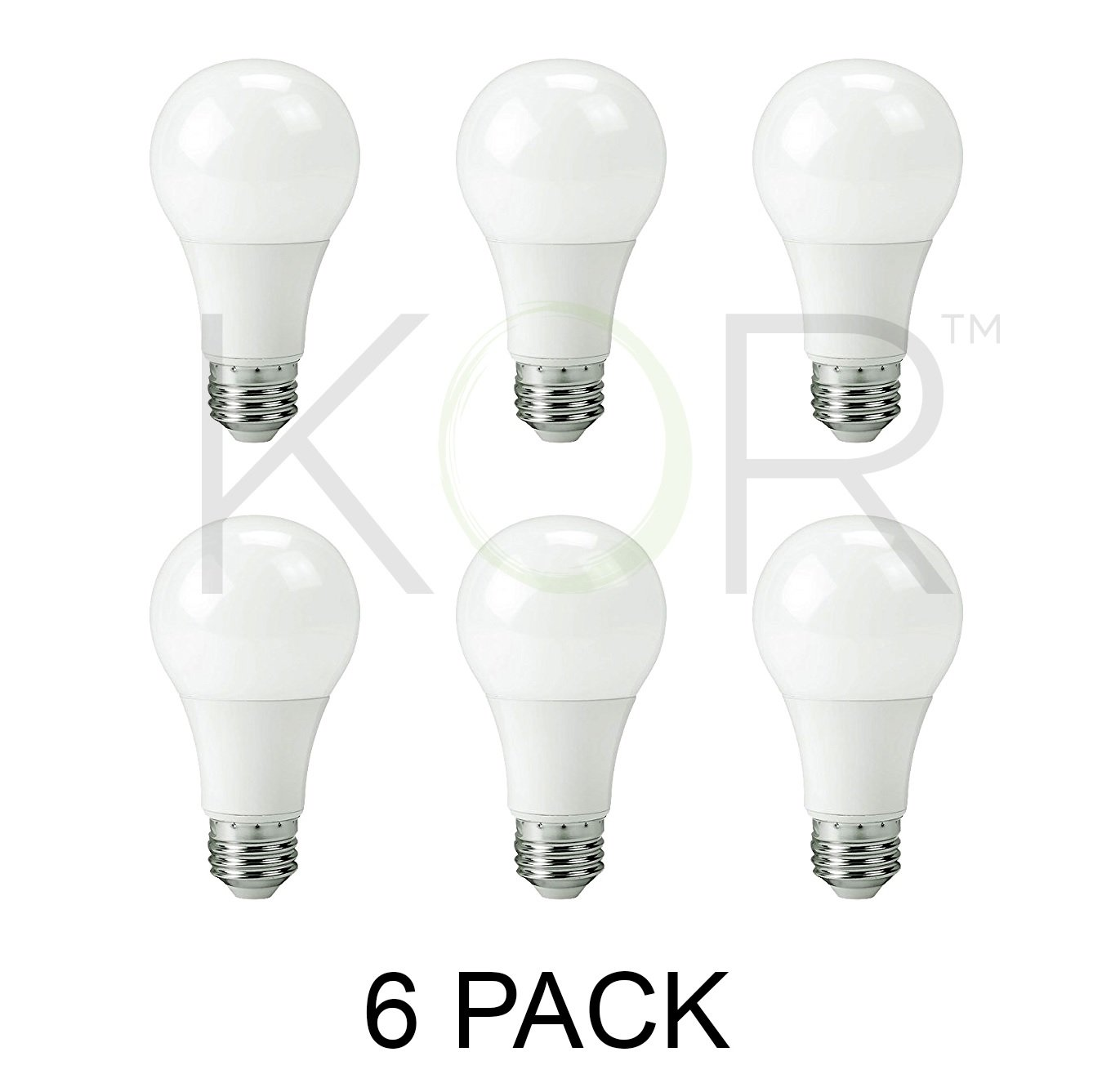 (PACK OF 6) 9W LED A19 Light Bulb - Equivalent to 60W - Non Dimmable - 800 Lumens - E26 Base - UL Listed - 15000 Hours (3000K (Soft White))