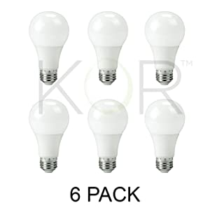 (Pack of 6) 9W LED A19 Light Bulb - Equivalent to 60W - Non Dimmable - 800 Lumens - E26 Base - UL Listed - 15000 Hours (5000K (Daylight White))