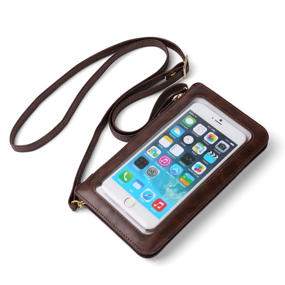 Touch Screen Brown Crossbody Bag w/Zipper Closure and Soft Interior Fabric for Blackberry Motion/Aurora/Keyone