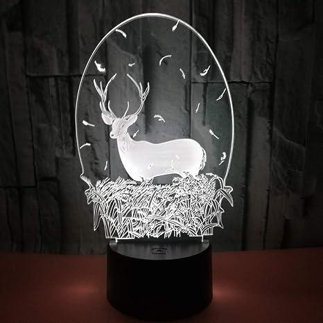 Coloridos Ciervos Navideños Lámpara De Ilusión 3D Luz De ...