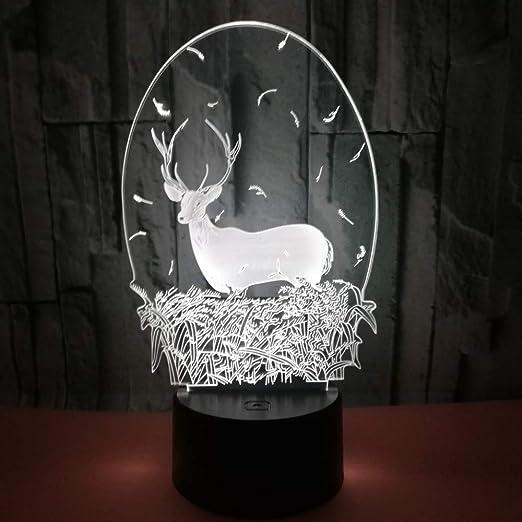 Coloridos Ciervos Navideños Lámpara De Ilusión 3D Luz De Noche Led ...