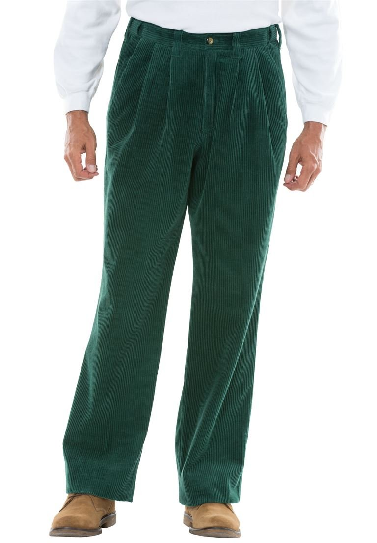 KingSize Men's Big & Tall Six-Wale Corduroy Pleat-Front Pants, Hunter Big-5438