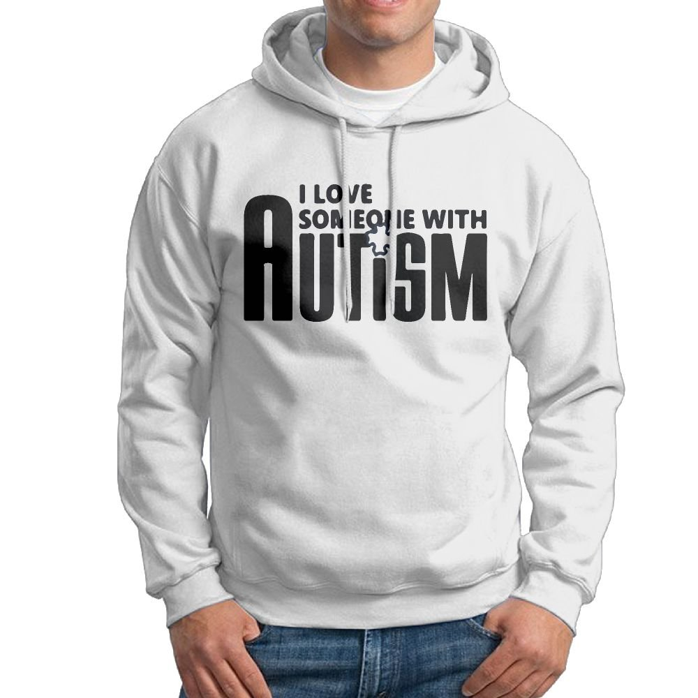 ZW&LC Men's I Love Someone With Autism Cotton Pullover Tops Cozy Sport Outwear