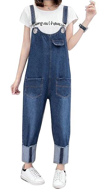 Amazoncom Artffel Women Stylish Loose Denim Bib Overall Wide Leg