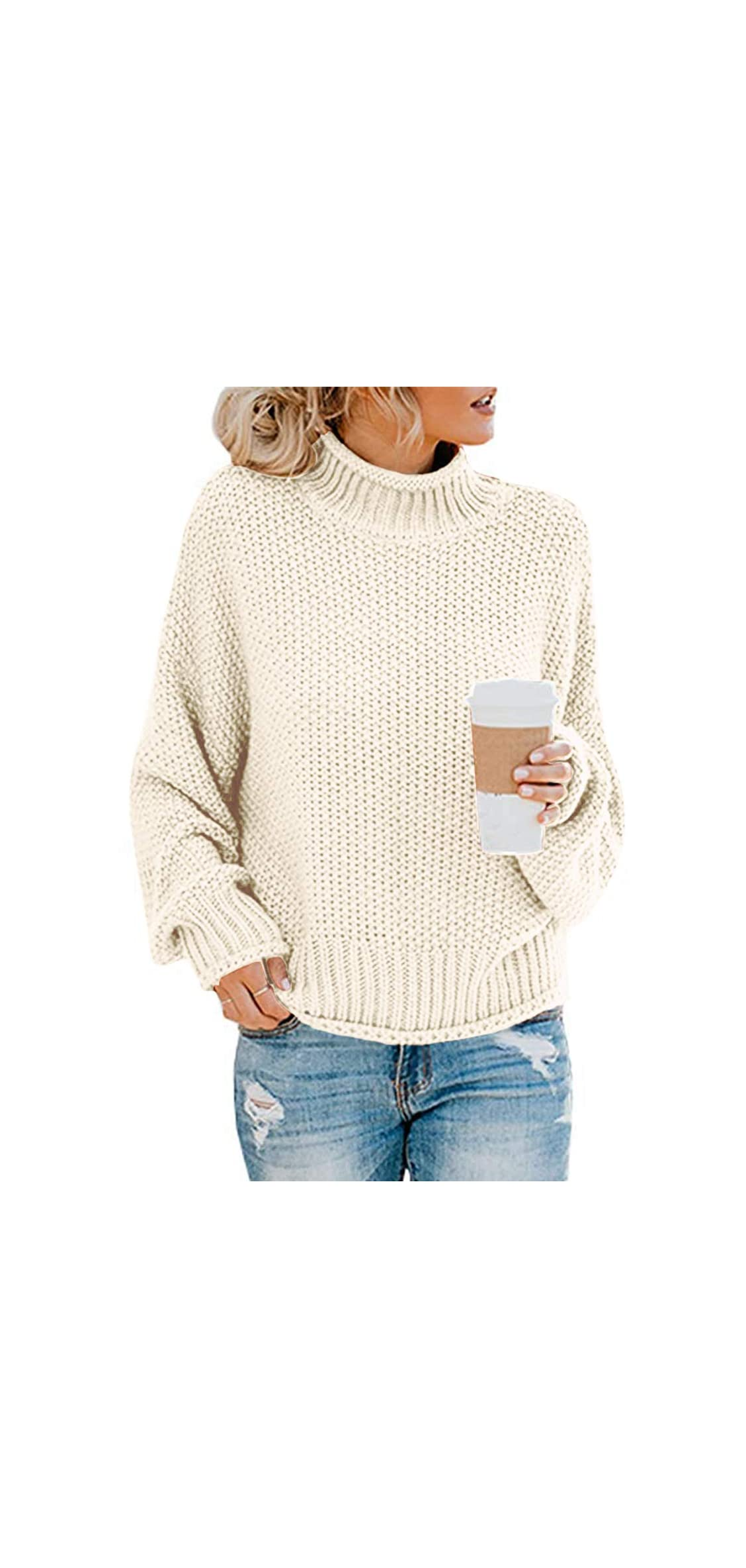 Women's Turtle Neck Oversized Chunky Knit Jumper
