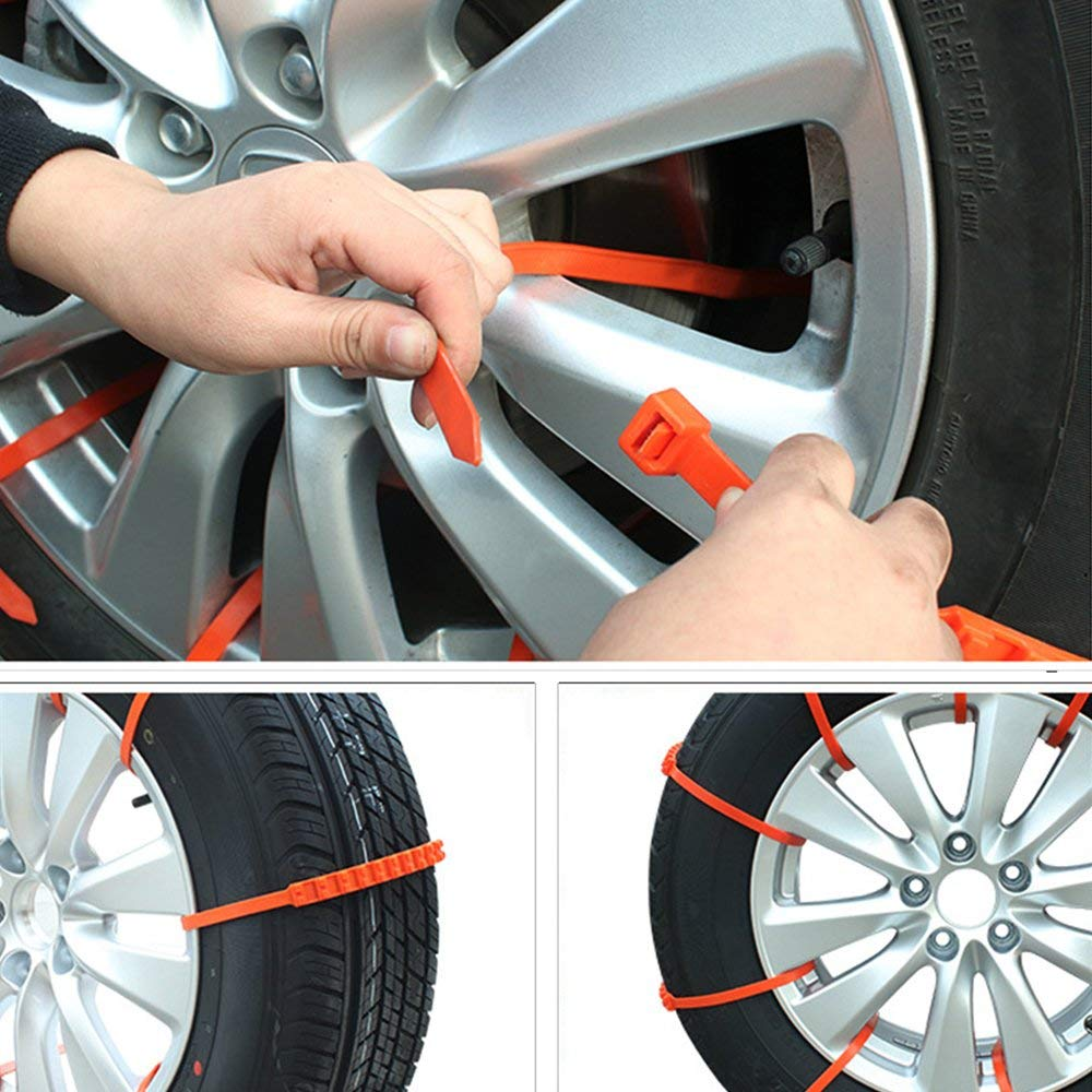 wadoy Emergency Snow Chains,Snow Tire Chain Car Anti-Skid Emergency Winter Driving Spikes for SUV Car,Tire Chains Universal Winter Snow Mud Chains 10 PCS