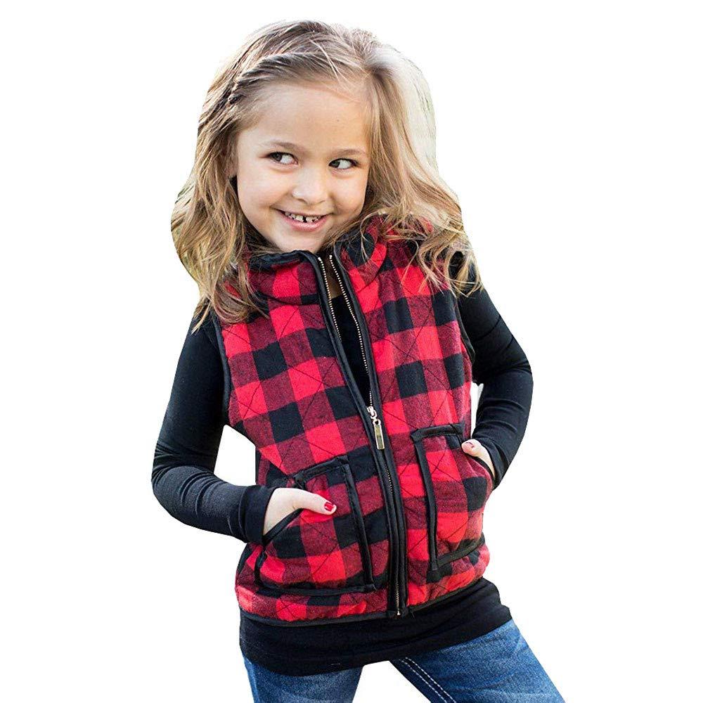Babykleidung Zhen Weste Jacke Unisex-Baby, 1-5 Jahre Jungen Mädchen Ärmellos Zipper Mantel Winterjacke, Outdoor Warme Jacke mit Lattice Druck Windjacke Verdicken Mantel