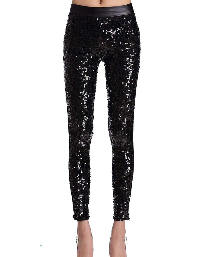 Pantalon negro con lentejuelas para baile o  fiesta - Leggings de lentejuelas para mujer.