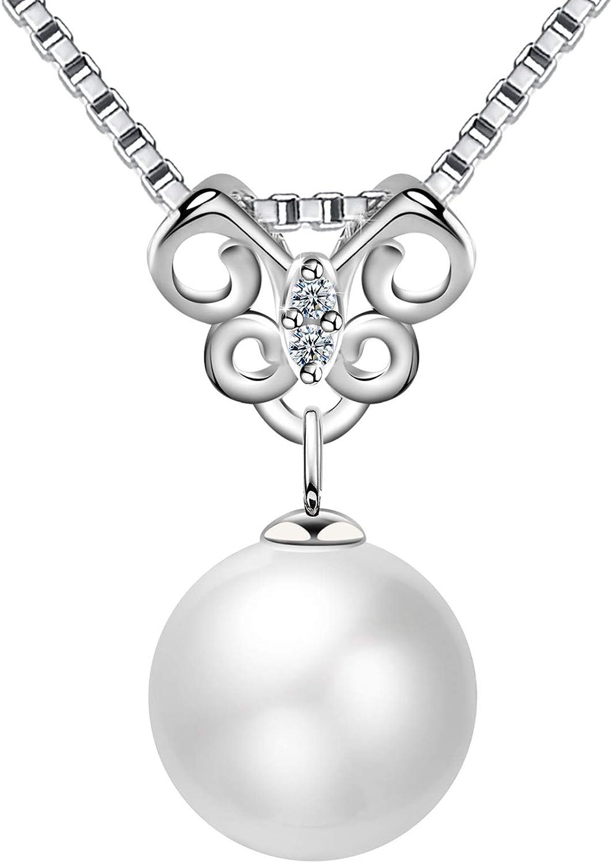 Amilril Collar Perla Mariposa Colgantes Mujer, Plata de Ley 925 Moda Joyería, Regalos Navidad Originales