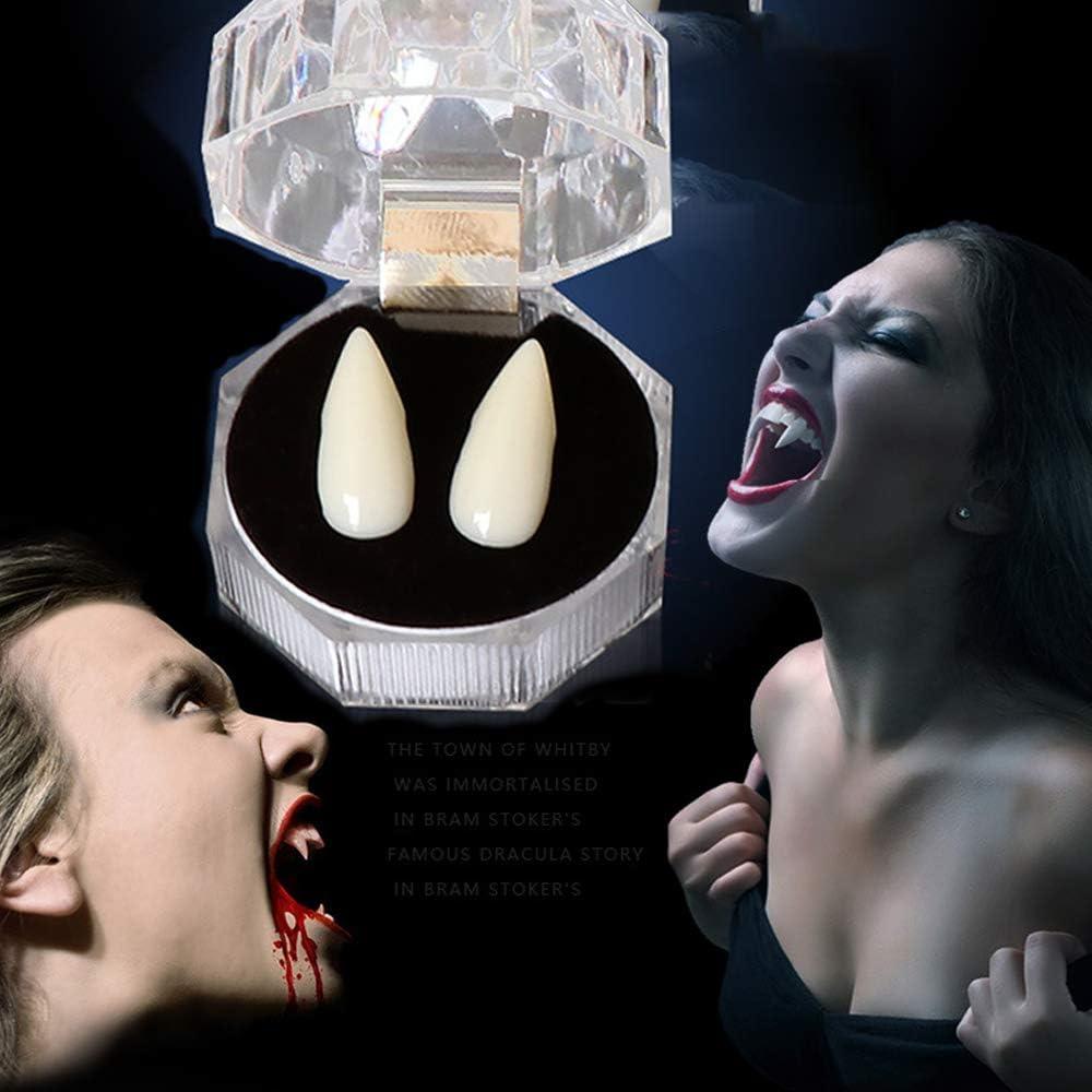 MHUI Vampirz/ähne Und 1 Paar Lange Ohren Der Elfen F/ür Die Cosplay Props Fake Teeth Halloween-Kost/ümparty,Long Ears 13mm Teeth