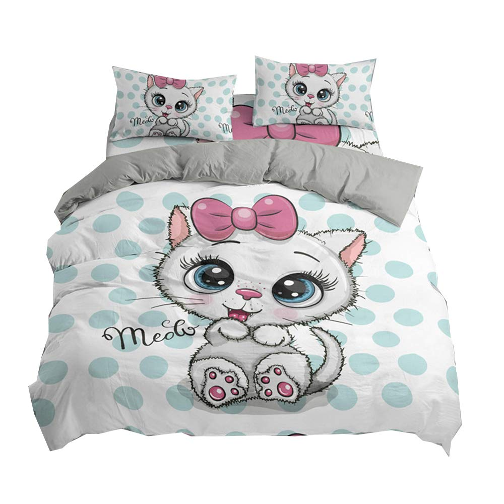 DMHunt Soft Microfiber Cartoon Cat Bedding Set Boys Kids Teens Adult Girls Duvet Cover Set with Pillow Shams Lightweight Home Textile Child Bed Set,Twin