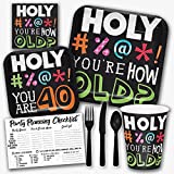 Holy Bleep You're 40 Years Old Funny Birthday Theme Party Supply Set - Serves 8 Guests