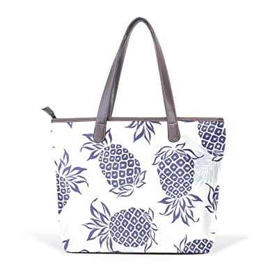 LORVIES Navy Blue Pineapple Pattern Large Tote PU Leather Handle Shoulder  Bags Women Tote Bag 3cf20e7038