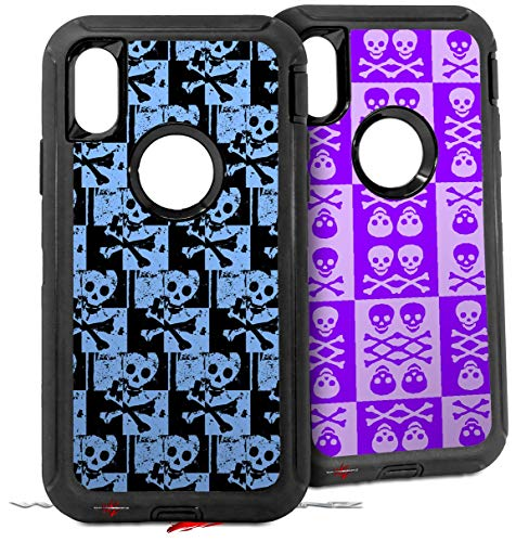 2X Decal Style Skin Wrap Set Compatible with Otterbox Defender iPhone X and Xs Case - Skull Checker Blue (CASE NOT Included)