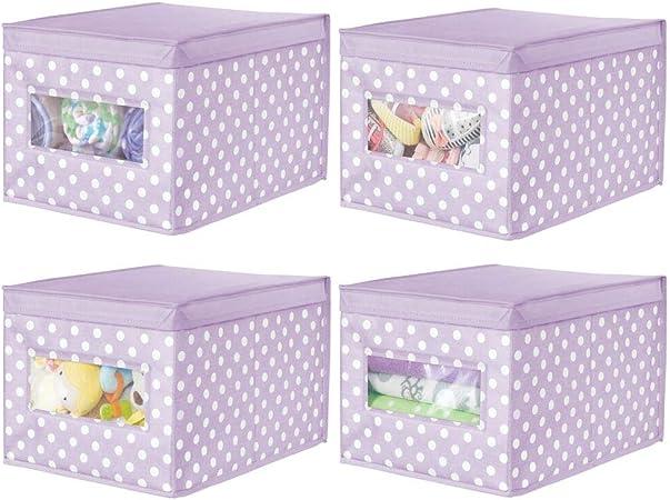 mDesign Juego de 4 Cajas organizadoras de Tela – Caja de almacenaje apilable para Guardar Ropa y Zapatos o para ordenar armarios – Organizador de armarios con Tapa y ventanilla – Violeta/Blanco: