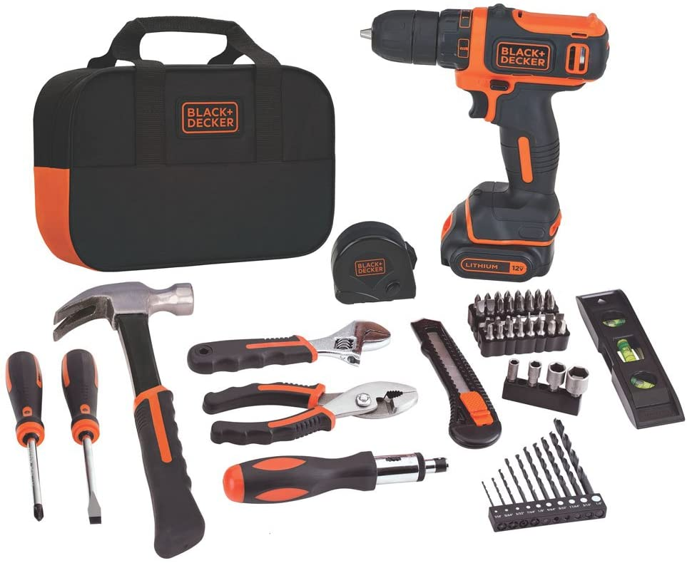 BLACK+DECKER 12V MAX Drill & Home Tool Kit, 60-Piece (BDCDD12PK) - -