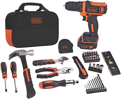 BLACK DECKER 12V MAX Drill Home Tool Kit, 60-Piece BDCDD12PK