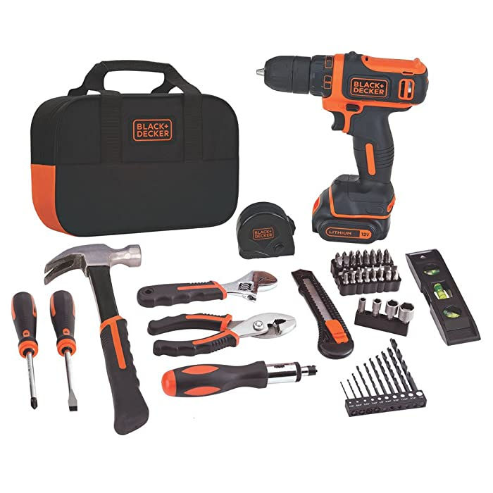 BLACK+DECKER 12V MAX Drill & Home Tool Kit, 60-Piece (BDCDD12PK)