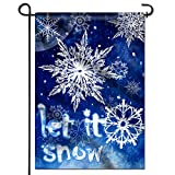 Anley Double Sided Premium Winter Snowflake Garden Flag, Let It Snow Decorative Garden Flags – Weather Resistant & Double Stitched – 18 x 12.5 Inch For Sale