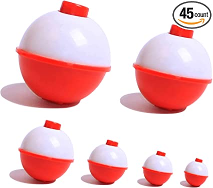 Hard ABS Fishing Floats Bobbers Push Button Round Buoy Floats Red and White Fishing Tackle 6 Snap-On Floats Bobbers Set