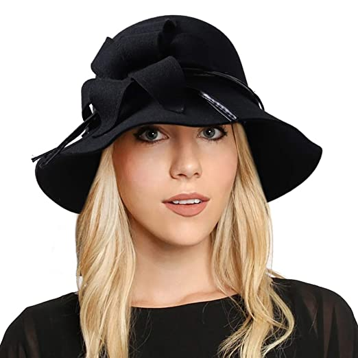 6f6f7c71074 FORBUSITE Vintage Wool Felt Cloche Bucket Hats for Women Winter Floppy Dress  Church Hats (Black) at Amazon Women s Clothing store