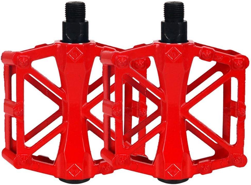 1 Par Aleación de Aluminio Pedal, Pedales, Pedales Bicicleta, Ultraligero Pedal de Bicicleta de Montaña, Aleación de Aluminio Antideslizante Ahuecar Pedal Cojinete Sellado para Montaña Bmx (Rojo)