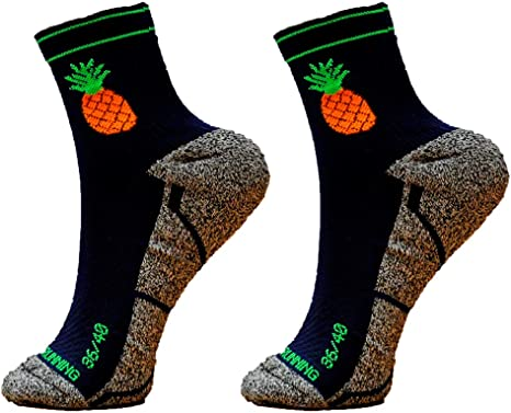 HOOPOE Pack Calcetines Trail Running Pineapple, 2 Pares, Hombres, Mujer, Divertidos, sin Costuras, Térmicos, Pineapple, Tallas 36-45: Amazon.es: Deportes y aire libre