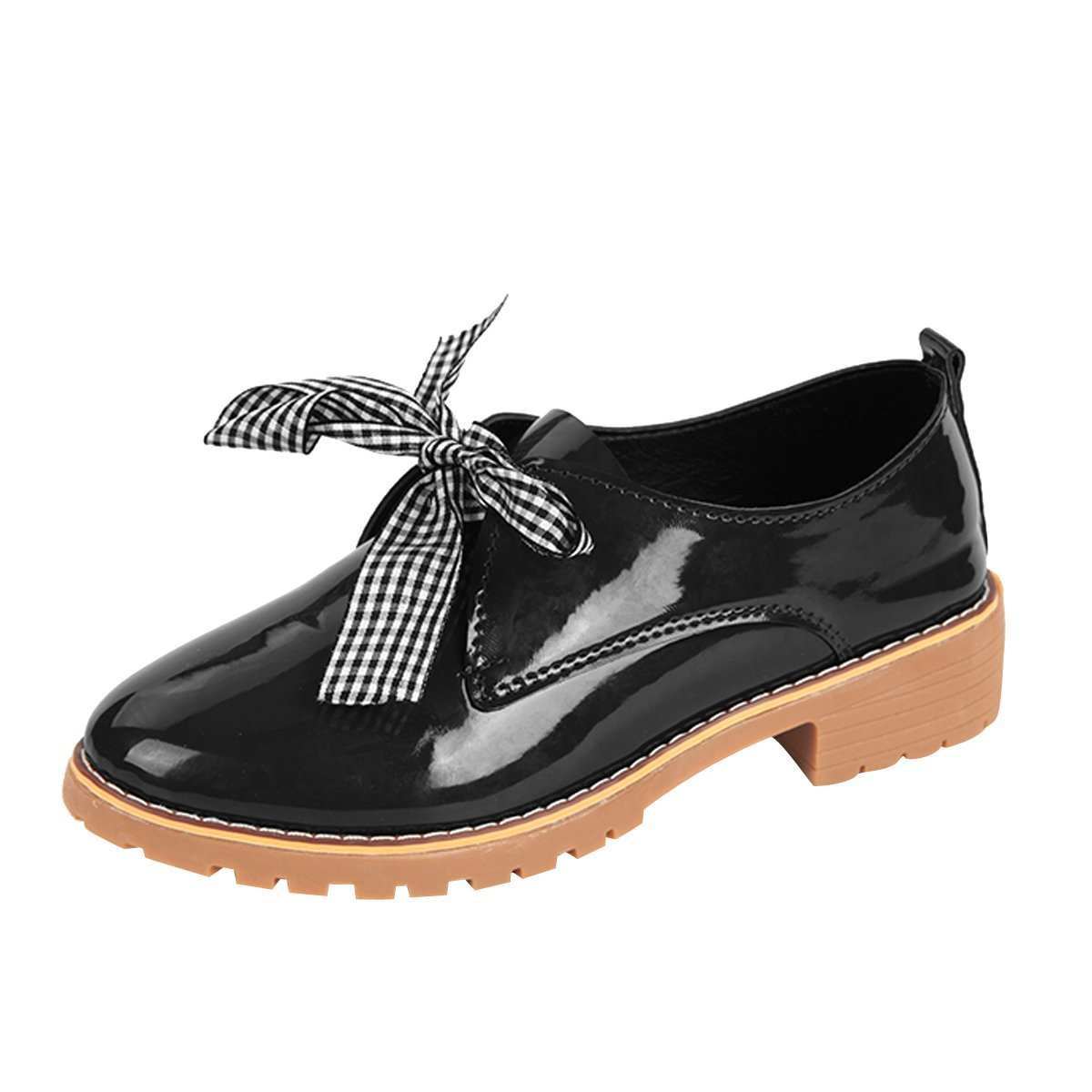 Dear Time Bowknot Oxfords Women's Lace Up Poined Toe Flat Brogue Shoes Black US 6