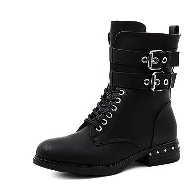 Marimo Damen Nieten Stiefel Biker Boots mit Schnallen Schnür Stiefeletten  in Lederoptik Schwarz 41 6325604521