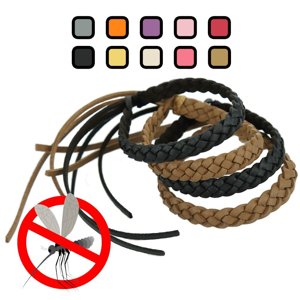 Kinven Mosquito Bug Repellent Faux Leather Bracelet Bands - DEET Free – Stylish Braiding, 2 packs (4 bracelets), (Color: Brown/Black)