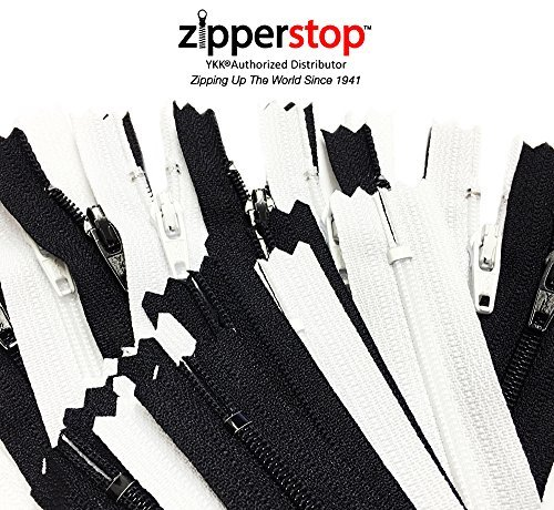 ZipperStop Wholesale - 50pcs~ Black 25 & White 25 YKK® #3 Nylon Coil Zippers Tailor Sewing Tools Garment Accessories 9 Inch Made in USA