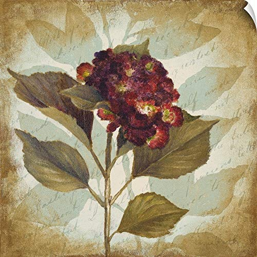 CANVAS ON DEMAND Aubergine Hydrangea Portrait Wall Peel Art Print, 35